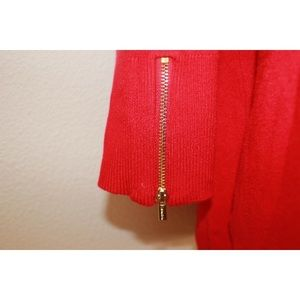 Calvin Klein Sweaters - Calvin Klein Red Tie Up Gold Accent Knit Sweater